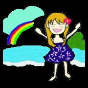 สติ๊กเกอร์ไลน์ Cheerfully Girl stamp