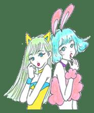 Bunny girl & Cat girl sticker #734463