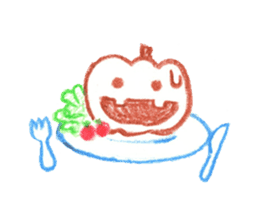 Hand-painted Halloween illustration sticker #736449