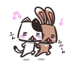 box rabbit & box cat sticker #738179