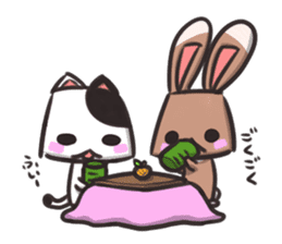 box rabbit & box cat sticker #738182