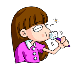 Girl student of the dumpling head sticker #748023