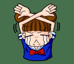 Girl student of the dumpling head sticker #748024