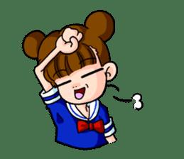 Girl student of the dumpling head sticker #748025