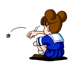 Girl student of the dumpling head sticker #748027