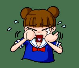 Girl student of the dumpling head sticker #748033