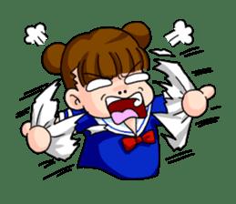 Girl student of the dumpling head sticker #748041