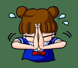 Girl student of the dumpling head sticker #748049