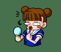 Girl student of the dumpling head sticker #748052
