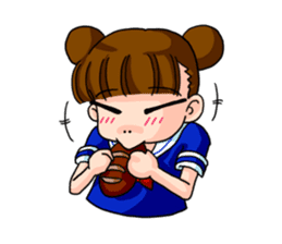 Girl student of the dumpling head sticker #748054