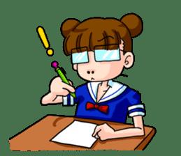 Girl student of the dumpling head sticker #748059