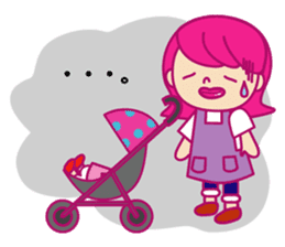 A mom does her best with an apron figure sticker #795379