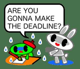 Editor Rabbit and Writer Turtle English sticker #816095