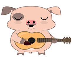 Kiki, the cute chubby little pink piggy sticker #853441