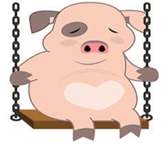 Kiki, the cute chubby little pink piggy sticker #853462
