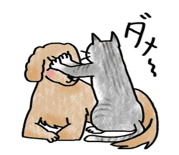 A dog and cat sticker #861916