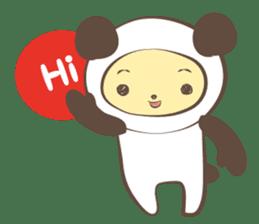 The boy who put on panda costume. sticker #865399