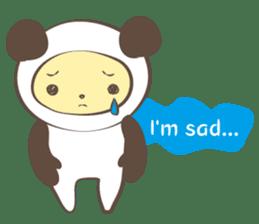 The boy who put on panda costume. sticker #865402