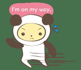The boy who put on panda costume. sticker #865404