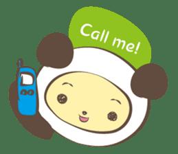 The boy who put on panda costume. sticker #865405