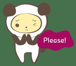 The boy who put on panda costume. sticker #865406