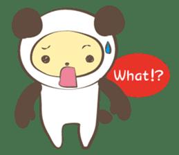 The boy who put on panda costume. sticker #865410