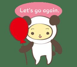 The boy who put on panda costume. sticker #865421