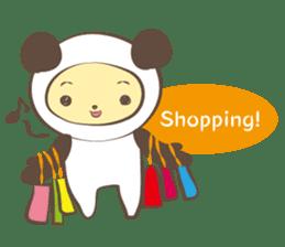 The boy who put on panda costume. sticker #865426