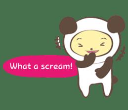 The boy who put on panda costume. sticker #865431