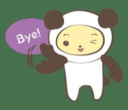 The boy who put on panda costume. sticker #865433