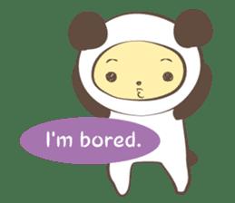 The boy who put on panda costume. sticker #865435