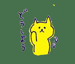 yellow happy cat 3 sticker #872152