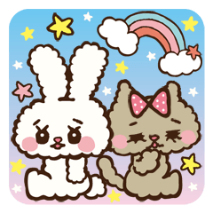 "Japanese ""Kawaii""Rabbit& Cat"