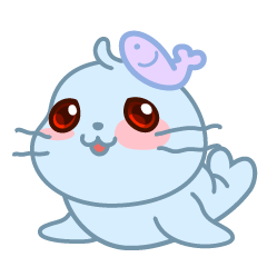 Sonee, the cute kawaii blue baby seal