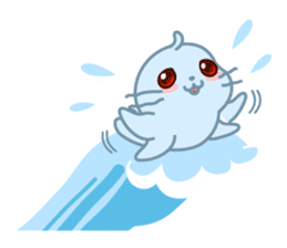 Sonee, the cute kawaii blue baby seal sticker #913898