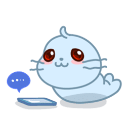 Sonee, the cute kawaii blue baby seal sticker #913910
