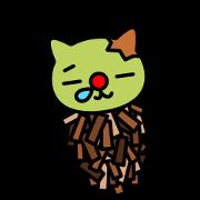 สติ๊กเกอร์ไลน์ Red nose and one eyebrow green cat