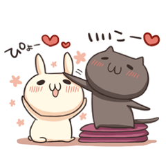 Shiro the rabbit & kuro the cat