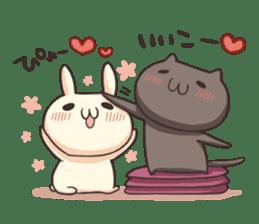 Shiro the rabbit & kuro the cat sticker #934802