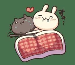 Shiro the rabbit & kuro the cat sticker #934807