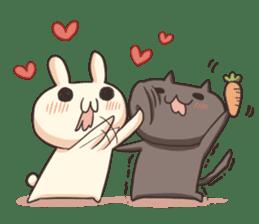 Shiro the rabbit & kuro the cat sticker #934809