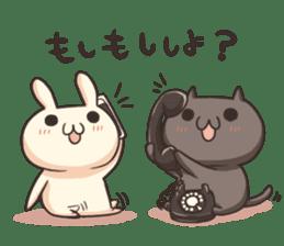 Shiro the rabbit & kuro the cat sticker #934811
