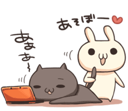 Shiro the rabbit & kuro the cat sticker #934814