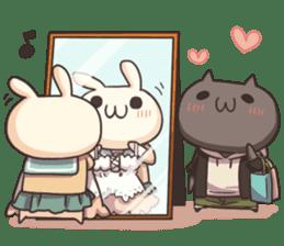 Shiro the rabbit & kuro the cat sticker #934818