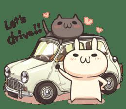 Shiro the rabbit & kuro the cat sticker #934820