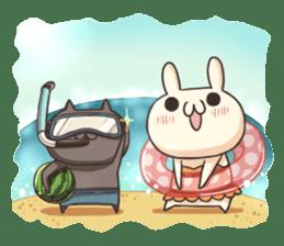 Shiro the rabbit & kuro the cat sticker #934822