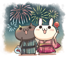 Shiro the rabbit & kuro the cat sticker #934823