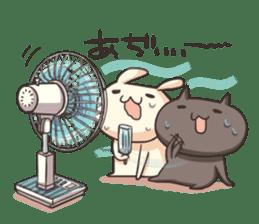 Shiro the rabbit & kuro the cat sticker #934829