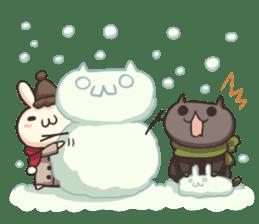 Shiro the rabbit & kuro the cat sticker #934833