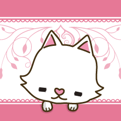 White cat sticker -English-